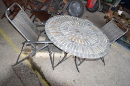 STONE TOP GARDEN TABLE & TWO CHAIRS