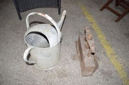 TIN WATERING CAN AND VINTAGE VICE