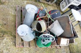 QTY GALVANISED BUCKETS AND WATERING CANS AND OTHER SUNDRIES