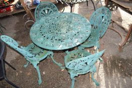 DECORATIVE GARDEN TABLE & FOUR CHAIRS