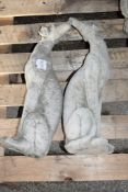 PAIR OF COMPOSITION FIGURES SEATED WHIPPETS H 55CM