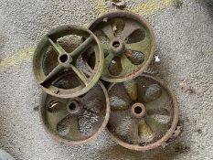 Four large cast iron Wheels