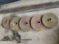 Five large Cast Iron Wheels