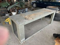 Large heavy metal workbench length approx 6'