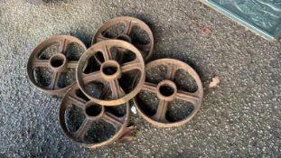 Set of five cast iron Wheels