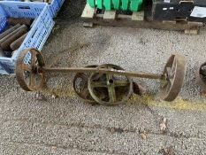 Cast iron hurdle Axle and four cast Wheels