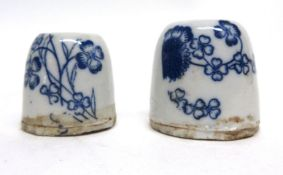 Pair of Chinese porcelain inkwells, both decorated in underglaze blue with floral designs