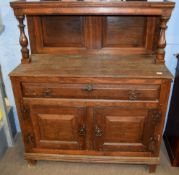 18th century and later small oak side cabinet, (constructed from period timbers), plain pediment