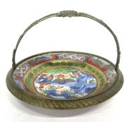 Chinese gilt brass dish with small porcelain tray with polychrome decoration of the leaping boy,