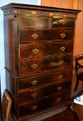 George III period inlaid mahogany chest on chest, the upper section fitted with two short and