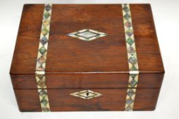 19th century mahogany box containing quantity of miscellaneous items including a Chinese enamel