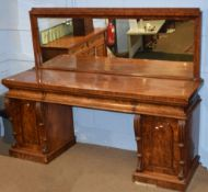 Early 19th century mahogany large mirror back twin pedestal sideboard, fitted with concave drawers