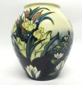Modern Moorcroft vase with a tube lined design in the Lamia pattern with artist's signature to base,