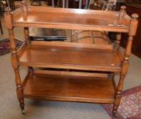 Victorian mahogany three-tier buffer or dumb waiter of plain rectangular design, three shelves