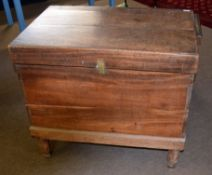 19th century mahogany storage trunk with later stand, the hinged lid opening to reveal a plain