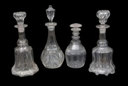 Group of four 19th century cut glass decanters of various shapes and sizes, largest 32cm high (4)