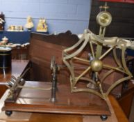 """Goodbrand & Co Ltd Manchester brass and oak based wool winding machine, base applied with plaque """""""