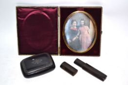 Box containing Victorian photograph in gilt frame, together with an ebonised wooden box and wooden