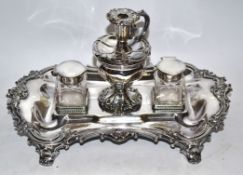 Plated inkwell and pen tray set
