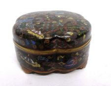 Cloisonne box and cover, lobed shape on four stub feet