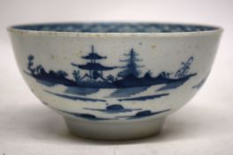 18th century Worcester porcelain slop bowl with the cannonball pattern and workman's mark to base