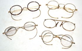 Small box containing quantity of vintage spectacles