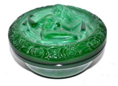 Small Art Deco malachite box and cover, the cover modelled with a classical maiden, 10cm diam