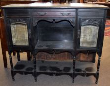 Late Victorian stained wood side cabinet (no back), having a glass panelled door either side of a