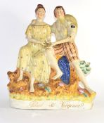 Large Staffordshire group of Paul and Virginia, 33cm high