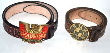Wild West style pair of leather belts with inscription (2)