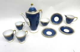 Copeland Spode coffee set in the Ryde pattern with gilt decoration on a blue ground, comprising