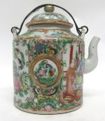 Late 19th century Cantonese tea pot with metal handle, 13cm high