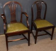 Matched set of eight (6+2) Hepplewhite style mahogany dining chairs with pierced splat and