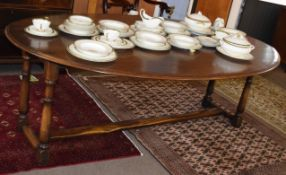 Good quality Wake style large drop leaf dining table by Simon Simpson, 205cm long