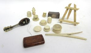 Box containing quantity of small ivory items including bookmark, small model of a tambour with ivory