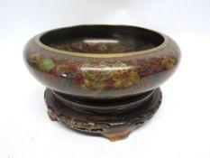 Large cloisonne bowl on wooden mount, 26cm diam