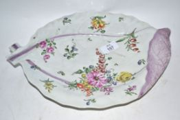 18th century Worcester cabbage leaf moulded dish decorated in Chelsea style with floral sprays, 33cm