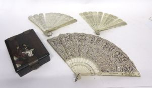 Box containing quantity of Chinese ivory fans