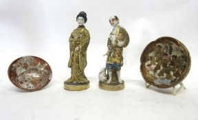 Pair of late 19th century Satsuma figures of a gentleman and a lady (a/f), together with two small