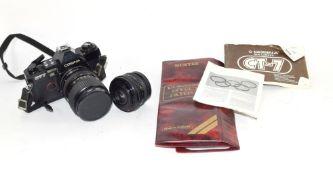 Box containing quantity of camera lenses and equipment including Casina camera