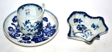 Group of Worcester porcelain including a coffee cup, saucer with three flowers print and a further