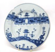 18th century Chinese porcelain blue and white plate decorated with pagodas, 22cm diam