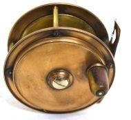 Vintage brass fishing reel 9cm diam