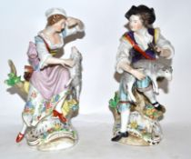 Pair of Continental porcelain figures of a shepherd and shepherdess in Meissen style, 22cm high