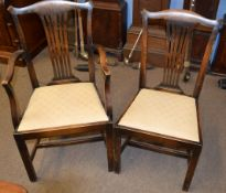 Set of six mahogany stained Chippendale style dining chairs comprising a carver and 5 single chairs,