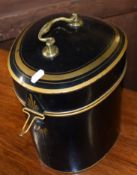 Early 20th century Tole-ware wig box of shaped triangular form, painted with gilt detail to a