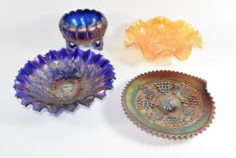 Northwood carnival glass good luck dish in cobalt blue, a good luck dish in marigold, a Northwood