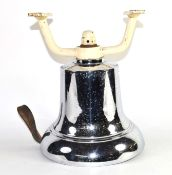 20th century large chromium fire bell with white painted cast metal bracket, 32cm high
