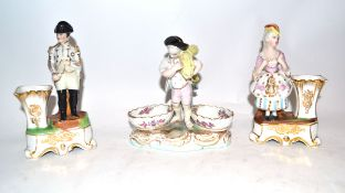 Continental porcelain salt figure in Meissen style, together with two further Continental