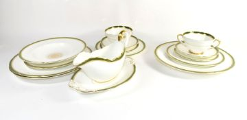 Extensive Coalport porcelain dinner service comprising 2 tureens, covers, gravy boat and stand, 2